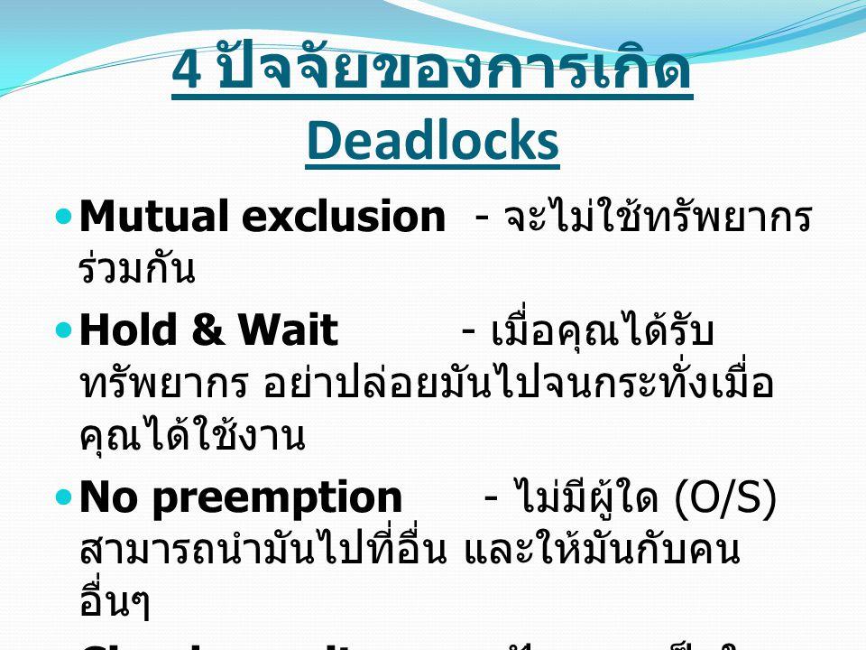 4 ปัจจัยของการเกิด Deadlocks ( ต่อ ) ถ้าหนึ่งในที่กล่าวมานี้มีความผิดพลาด เกิดขึ้น เป็นไปไม่ได้ที่จะไม่มีการ g กิด deadlock ดังนั้นสิ่งที่เห็นอยู่ขณะนี้ เราก็จะ รู้แล้วว่าต้องทำอย่างไรที่จะกำจัดปัญหา ของ deadlock เราต้องหาทางที่จะทำให้ แน่ใจได้ว่าหนึ่งใน 4 ข้อเงื่อนไข คือสิ่งที่ ผิด ถ้าเราสามารถทำได้ เราจะสามารถ แน่ใจได้ว่าจะไม่มี deadlock เกิดขึ้น