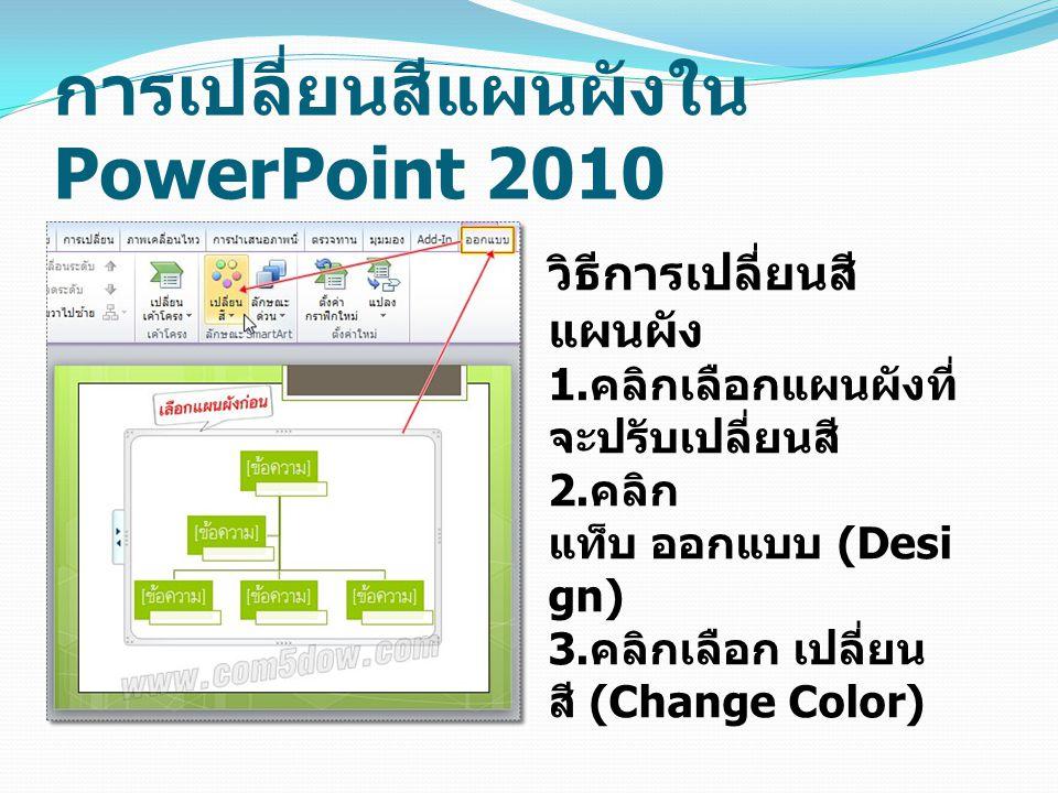 การเปลี่ยนสีแผนผังใน PowerPoint 2010 วิธีการเปลี่ยนสี แผนผัง 1.