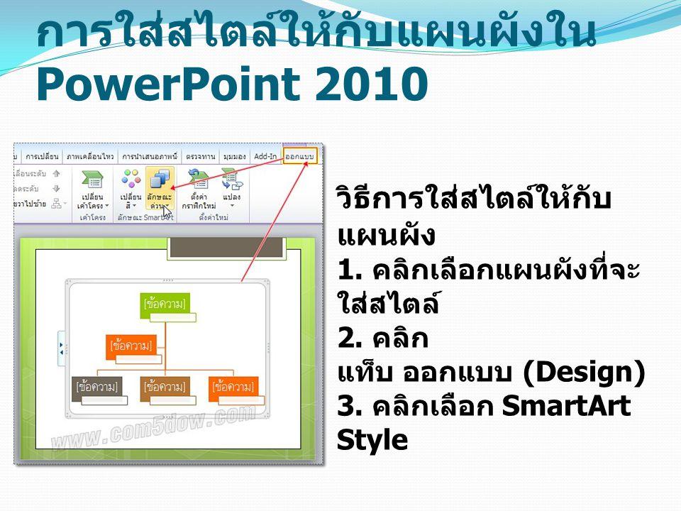 การใส่สไตล์ให้กับแผนผังใน PowerPoint 2010 วิธีการใส่สไตล์ให้กับ แผนผัง 1.