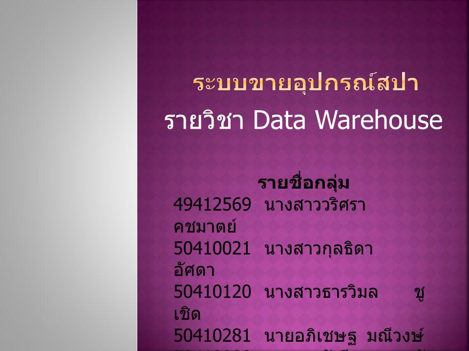 รายวิชา Data Warehouse รายชื่อกลุ่ม 49412569 นางสาววริศรา คชมาตย์ 50410021 นางสาวกุลธิดา อัศดา 50410120 นางสาวธารวิมล ชู เชิด 50410281 นายอภิเชษฐ มณีวงษ์ 50410908 นางสาววัชรีพร จัน ทมิฬ 50410762 นางสาวกรรณิการ์ ศรี อรัญ