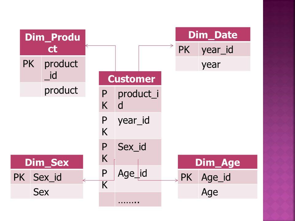 Customer PKPK product_i d PKPK year_id PKPK Sex_id PKPK Age_id …….. Dim_Produ ct PKproduct _id product Dim_Date PKyear_id year Dim_Sex PKSex_id Sex Di