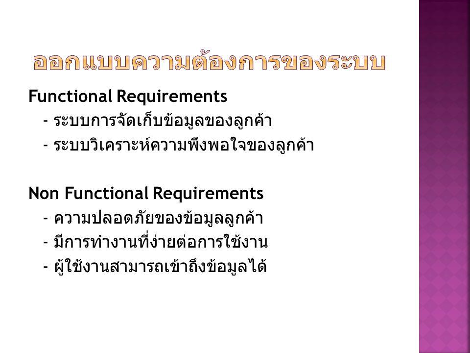 Functional Requirements - ระบบการจัดเก็บข้อมูลของลูกค้า - ระบบวิเคราะห์ความพึงพอใจของลูกค้า Non Functional Requirements - ความปลอดภัยของข้อมูลลูกค้า - มีการทำงานที่ง่ายต่อการใช้งาน - ผู้ใช้งานสามารถเข้าถึงข้อมูลได้