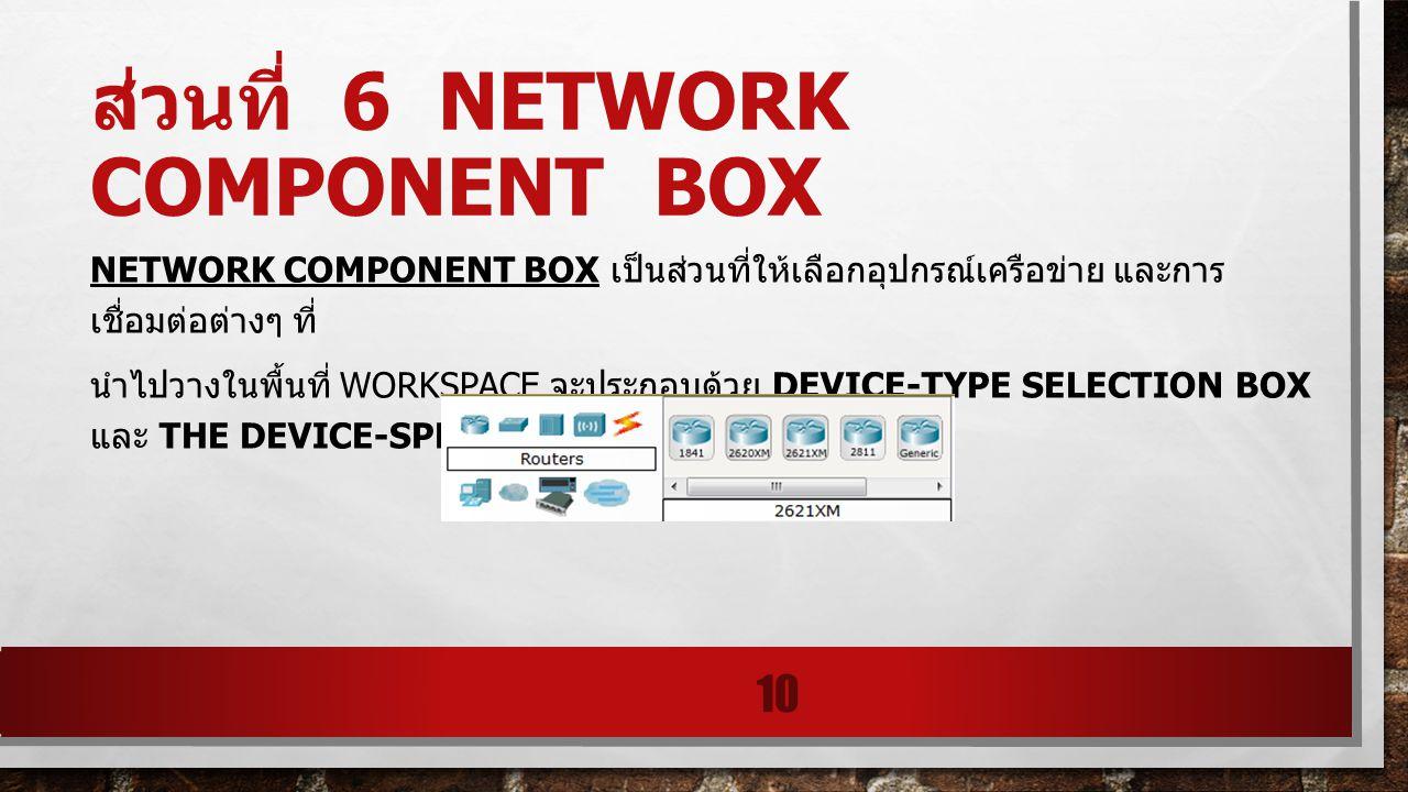 ส่วนที่ 6 NETWORK COMPONENT BOX NETWORK COMPONENT BOX เป็นส่วนที่ให้เลือกอุปกรณ์เครือข่าย และการ เชื่อมต่อต่างๆ ที่ นําไปวางในพื้นที่ WORKSPACE จะประก