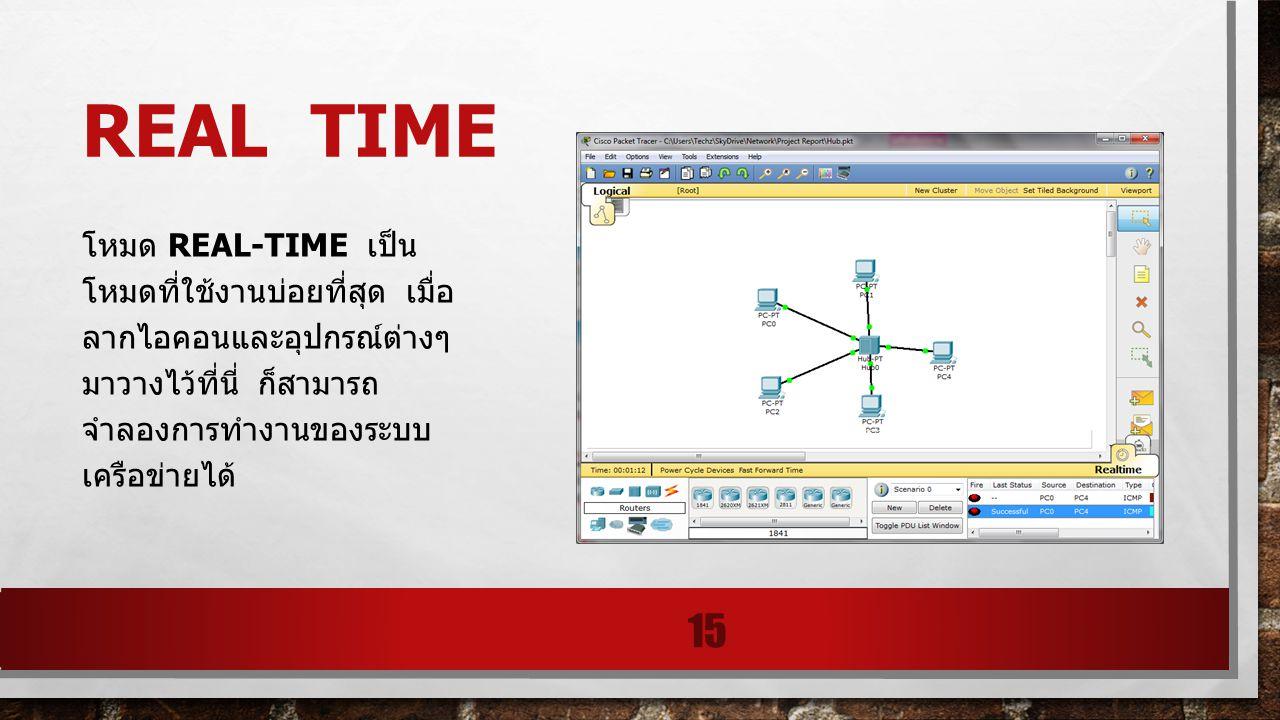 REAL TIME โหมด REAL-TIME เป็น โหมดที่ใช้งานบ่อยที่สุด เมื่อ ลากไอคอนและอุปกรณ์ต่างๆ มาวางไว้ที่นี่ ก็สามารถ จำลองการทำงานของระบบ เครือข่ายได้ 15