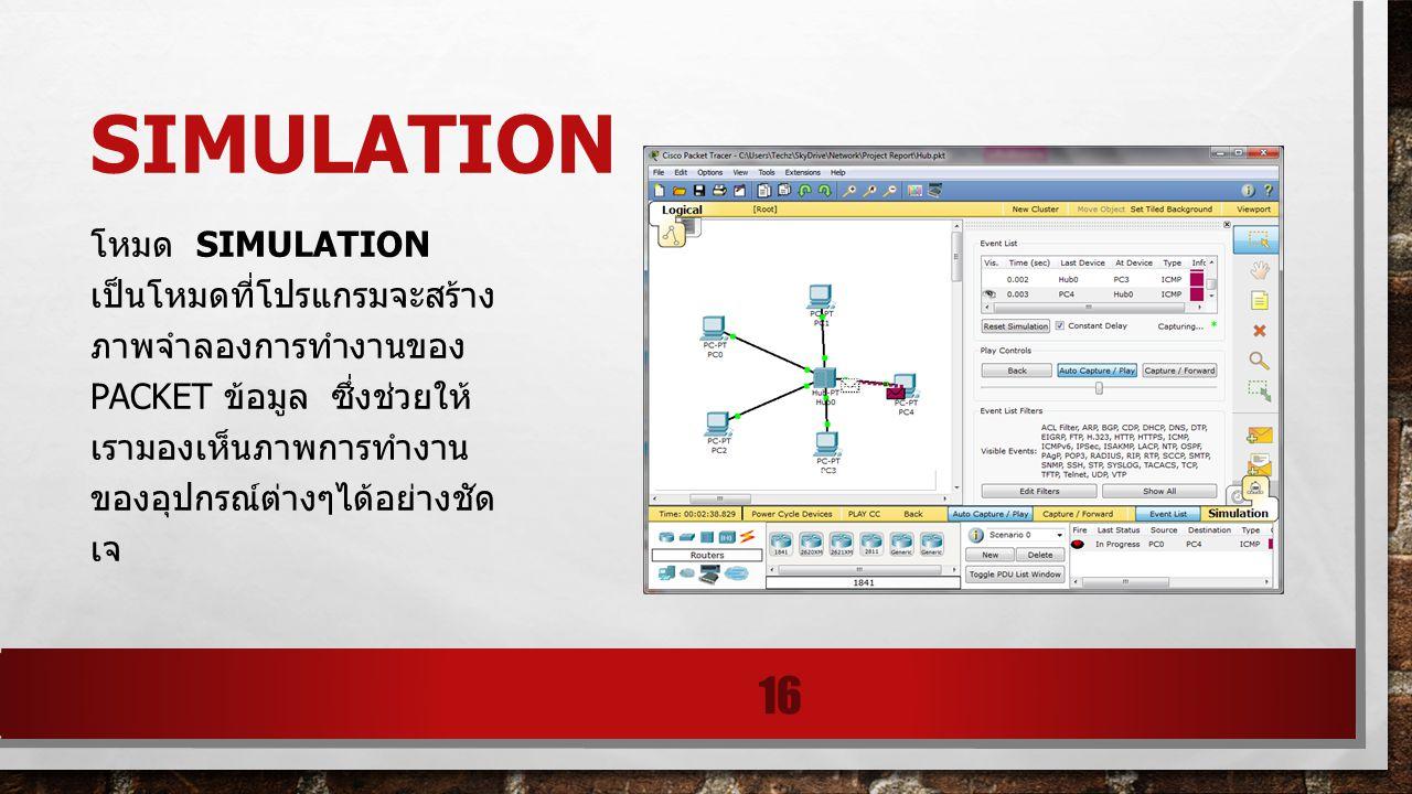 SIMULATION โหมด SIMULATION เป็นโหมดที่โปรแกรมจะสร้าง ภาพจำลองการทำงานของ PACKET ข้อมูล ซึ่งช่วยให้ เรามองเห็นภาพการทำงาน ของอุปกรณ์ต่างๆได้อย่างชัด เจ