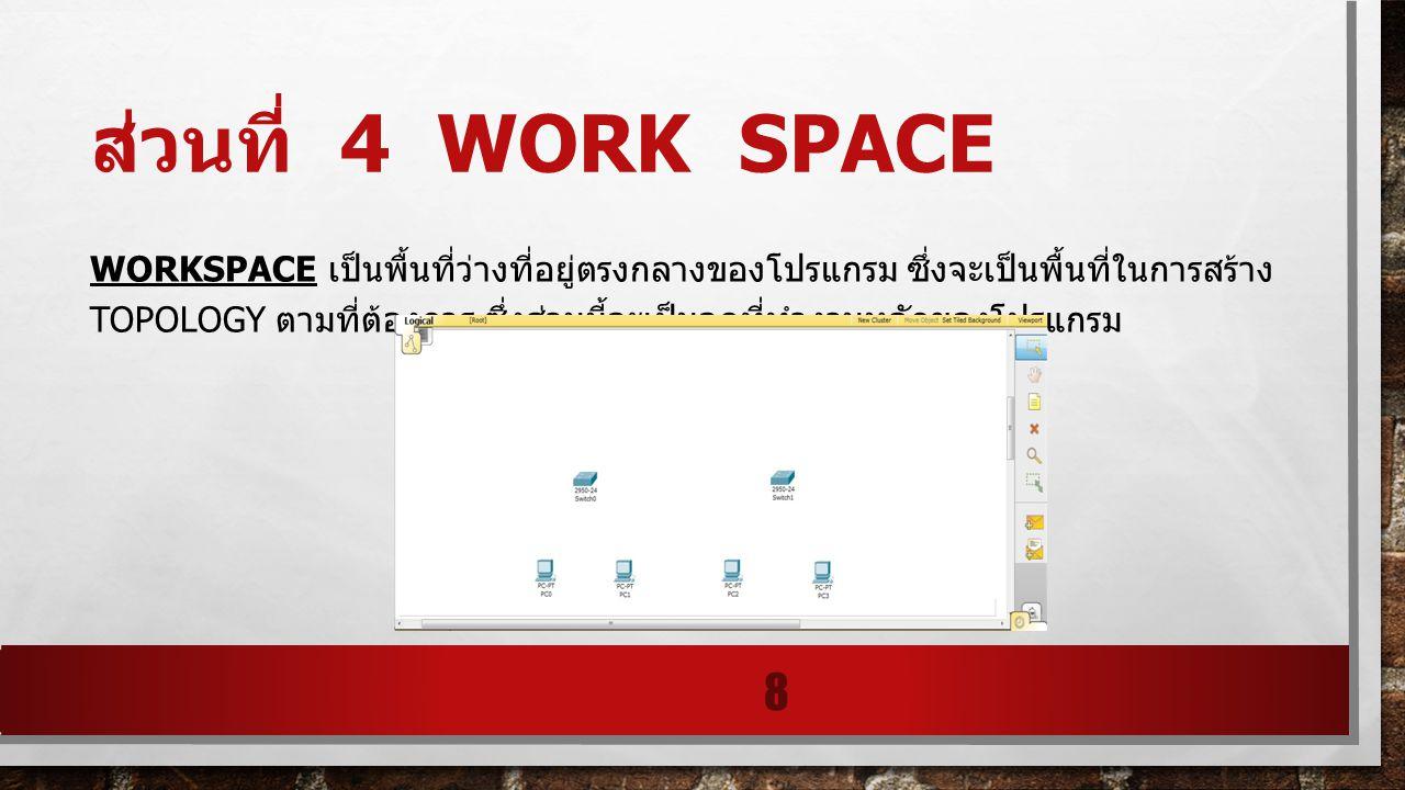 ส่วนที่ 4 WORK SPACE WORKSPACE เป็นพื้นที่ว่างที่อยู่ตรงกลางของโปรแกรม ซึ่งจะเป็นพื้นที่ในการสร้าง TOPOLOGY ตามที่ต้องการ ซึ่งส่วนนี้จะเป็นจุดที่ทํางา