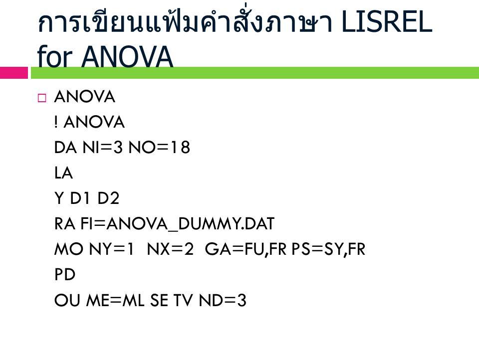 การเขียนแฟ้มคำสั่งภาษา LISREL for ANOVA  ANOVA ! ANOVA DA NI=3 NO=18 LA Y D1 D2 RA FI=ANOVA_DUMMY.DAT MO NY=1 NX=2 GA=FU,FR PS=SY,FR PD OU ME=ML SE T