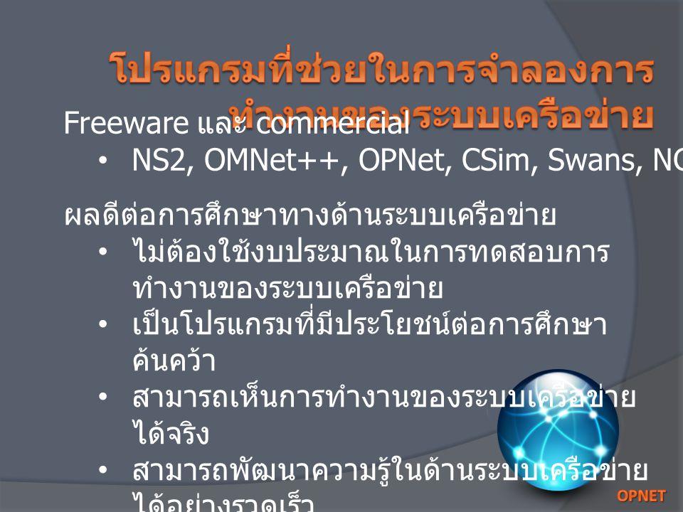 Freeware และ commercial NS2, OMNet++, OPNet, CSim, Swans, NCTUns ผลดีต่อการศึกษาทางด้านระบบเครือข่าย ไม่ต้องใช้งบประมาณในการทดสอบการ ทำงานของระบบเครือข่าย เป็นโปรแกรมที่มีประโยชน์ต่อการศึกษา ค้นคว้า สามารถเห็นการทำงานของระบบเครือข่าย ได้จริง สามารถพัฒนาความรู้ในด้านระบบเครือข่าย ได้อย่างรวดเร็ว