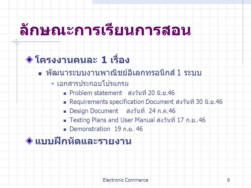 Electronic Commerce6 ลักษณะการเรียนการสอน โครงงานคนละ 1 เรื่อง พัฒนาระบบงานพาณิชย์อิเลกทรอนิกส์ 1 ระบบ  เอกสารประกอบโปรแกรม Problem statement ส่งวันท