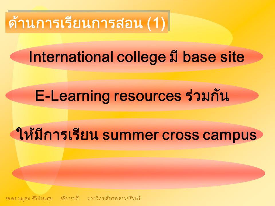 ด้านการเรียนการสอน (1) International college มี base site E-Learning resources ร่วมกัน ให้มีการเรียน summer cross campus