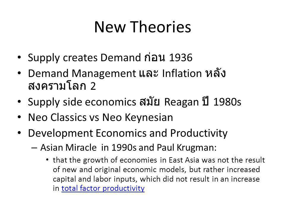 New Theories Supply creates Demand ก่อน 1936 Demand Management และ Inflation หลัง สงครามโลก 2 Supply side economics สมัย Reagan ปี 1980s Neo Classics