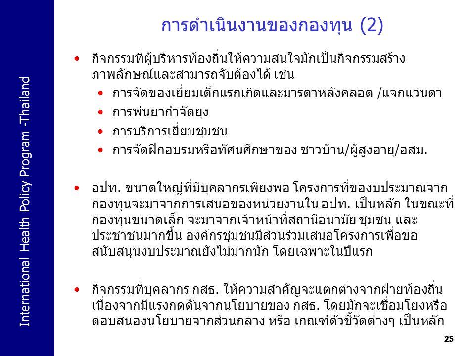 International Health Policy Program -Thailand 25 การดำเนินงานของกองทุน (2) 25 กิจกรรมที่ผู้บริหารท้องถิ่นให้ความสนใจมักเป็นกิจกรรมสร้าง ภาพลักษณ์และสา