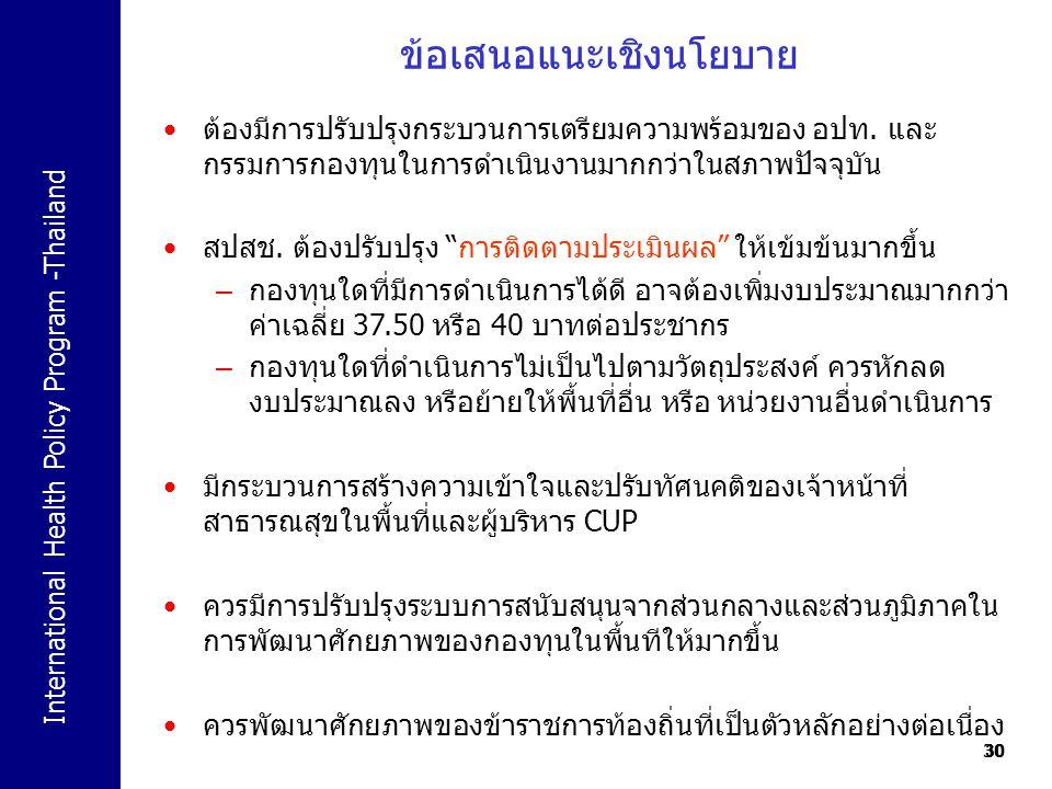 International Health Policy Program -Thailand 30 ข้อเสนอแนะเชิงนโยบาย 30 ต้องมีการปรับปรุงกระบวนการเตรียมความพร้อมของ อปท. และ กรรมการกองทุนในการดำเนิ