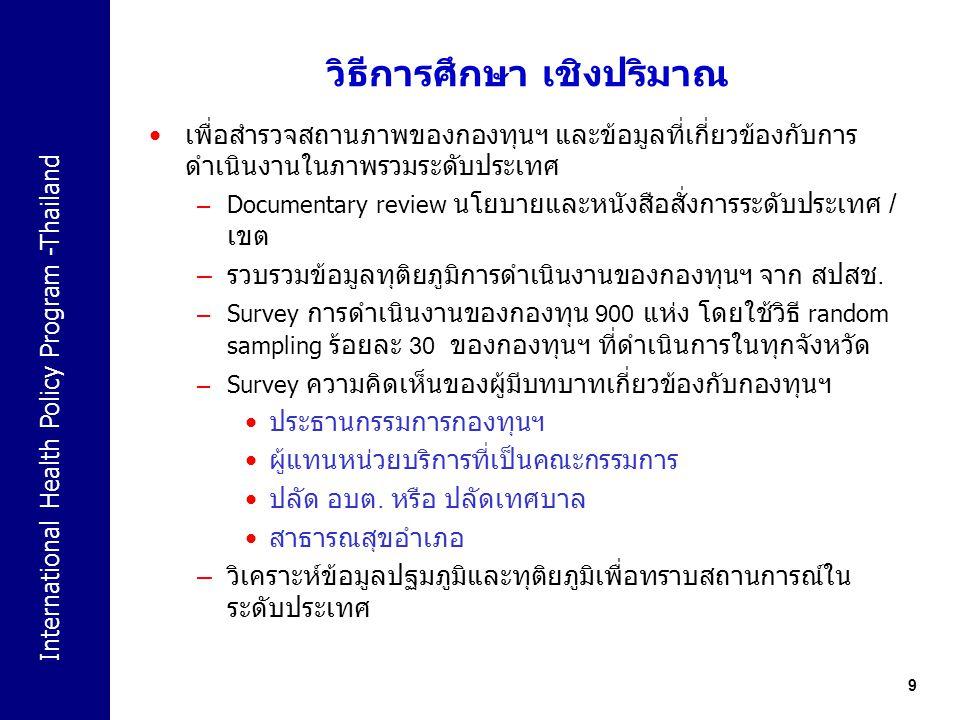 International Health Policy Program -Thailand 9 วิธีการศึกษา เชิงปริมาณ เพื่อสำรวจสถานภาพของกองทุนฯ และข้อมูลที่เกี่ยวข้องกับการ ดำเนินงานในภาพรวมระดั