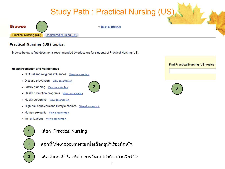11 Study Path : Practical Nursing (US) 3 2 1 3 2 1 หรือ ค้นหาหัวเรื่องที่ต้องการ โดยใส่คำค้นแล้วคลิก GO คลิกที่ View documents เพื่อเลือกดูหัวเรื่องที