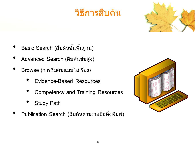 3 วิธีการสืบค้น Basic Search ( สืบค้นขั้นพื้นฐาน ) Advanced Search ( สืบค้นขั้นสูง ) Browse ( การสืบค้นแบบไล่เรียง ) Evidence-Based Resources Competency and Training Resources Study Path Publication Search ( สืบค้นตามรายชื่อสิ่งพิมพ์ )
