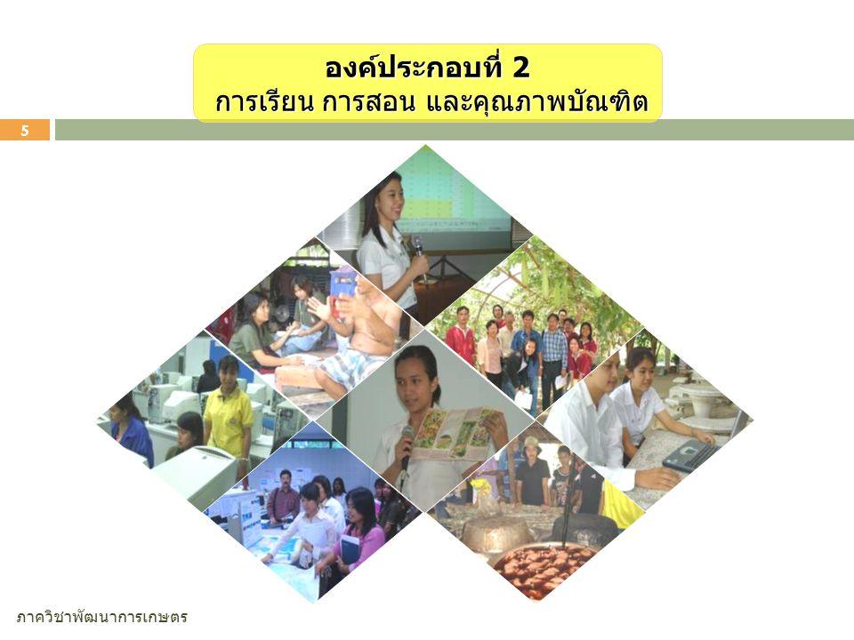 ภาควิชาพัฒนาการเกษตร 5 องค์ประกอบที่ 2 การเรียน การสอน และคุณภาพบัณฑิต การเรียน การสอน และคุณภาพบัณฑิต
