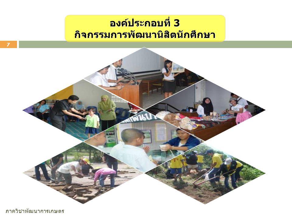 ภาควิชาพัฒนาการเกษตร 7 องค์ประกอบที่ 3 กิจกรรมการพัฒนานิสิตนักศึกษา