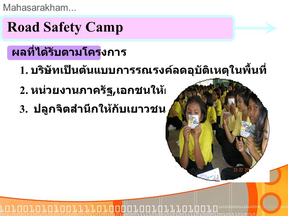 Mahasarakham... 3. Road Safety Kid ณ ร. ร. อนุบาลมหาสารคาม เมื่อวันที่ 15 ส. ค. 2550 Road Safety Camp สมาชิกกลุ่ม 10 คน จัดตั้งกลุ่มเมื่อวันที่ 2 ส. ค