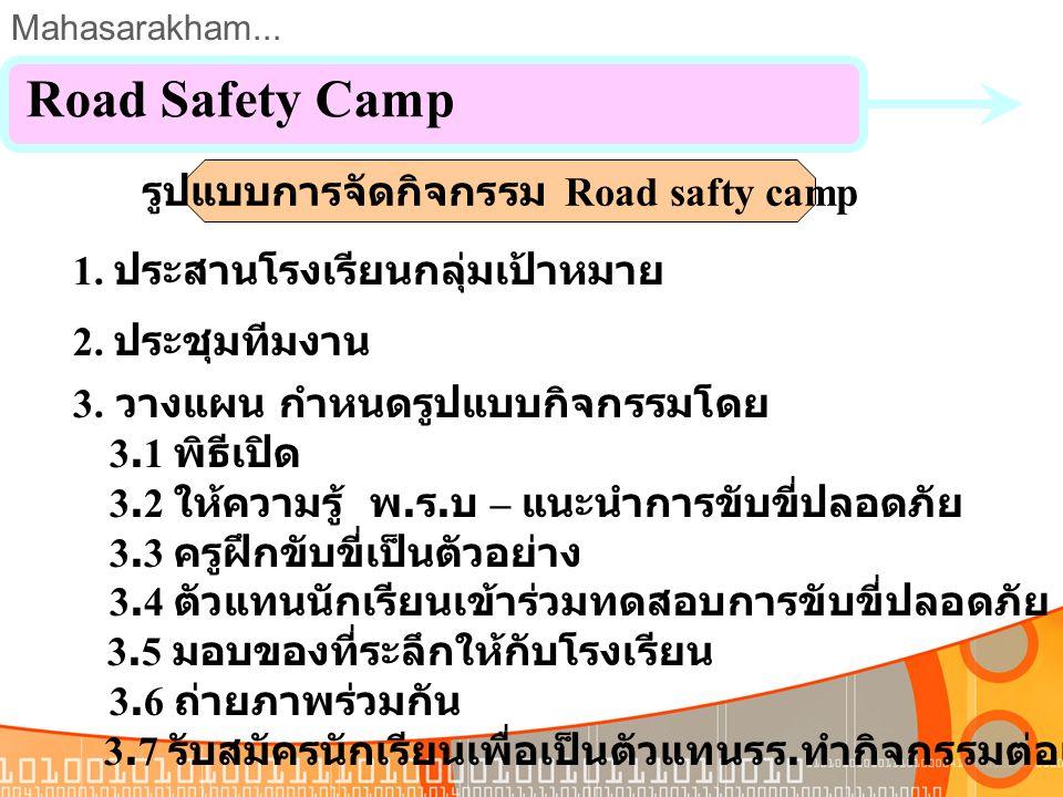 Mahasarakham... 1. บริษัทเป็นต้นแบบการรณรงค์ลดอุบัติเหตุในพื้นที่ 2. หน่วยงานภาครัฐ, เอกชนให้การยอมรับ 3. ปลูกจิตสำนึกให้กับเยาวชน Road Safety Camp ผล