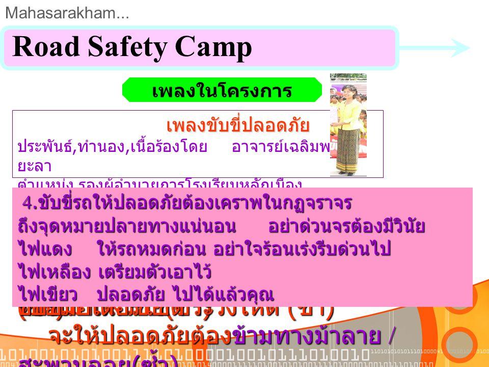 Mahasarakham... Road Safety Camp ประเมินโครงการ ม.ค.ม.ค. ก.พ.ก.พ. มี. ค. เม. ย. พ.ค.พ.ค. มิ. ย. ก.ค.ก.ค. ส.ค.ส.ค. ก.ย.ก.ย. ต.ค.ต.ค. พ.ย.พ.ย. ธ.ค.ธ.ค.