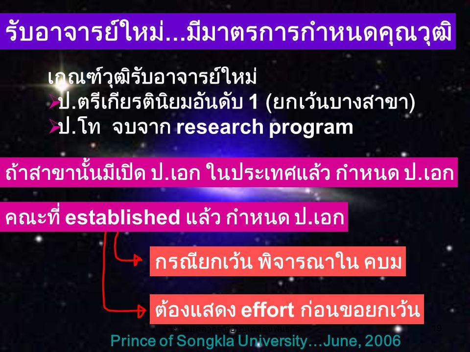 ระบบบุคลากรเพื่อขับเคลื่อนพันธกิจ หลัก 19 Prince of Songkla University…June, 2006 รับอาจารย์ใหม่...