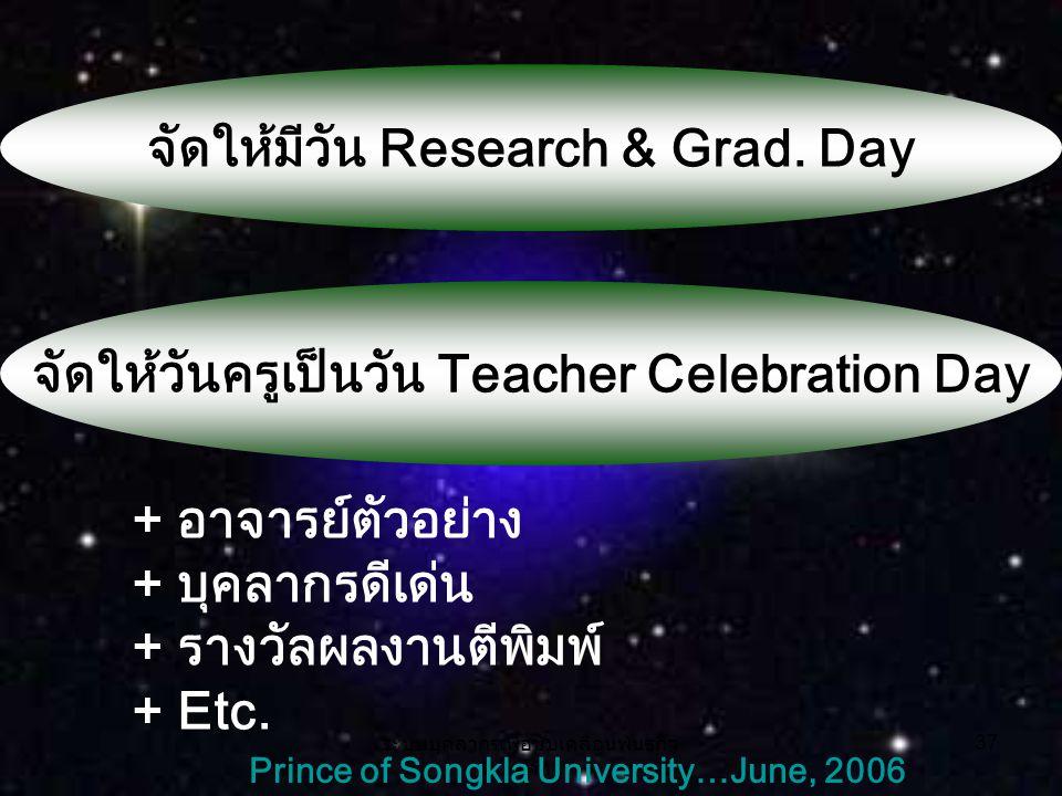 ระบบบุคลากรเพื่อขับเคลื่อนพันธกิจ หลัก 37 Prince of Songkla University…June, 2006 จัดให้มีวัน Research & Grad.