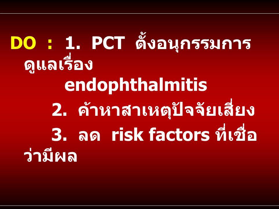 DO : 1. PCT ตั้งอนุกรรมการ ดูแลเรื่อง endophthalmitis 2. ค้าหาสาเหตุปัจจัยเสี่ยง 3. ลด risk factors ที่เชื่อ ว่ามีผล