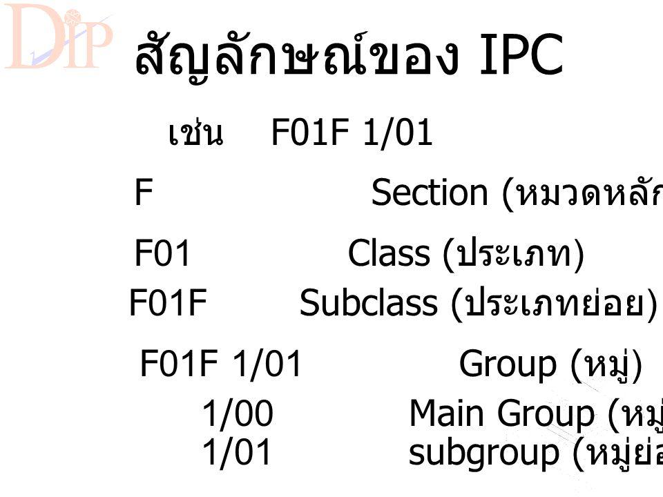 International Patent Classification (IPC) * ระบบการจัดจำแนกสิทธิบัตรแบบสากล ที่จัดทำโดย องค์การทรัพย์สินทางปัญญาโลก (WIPO) * ปัจจุบันใช้ IPC ที่แก้ไขค