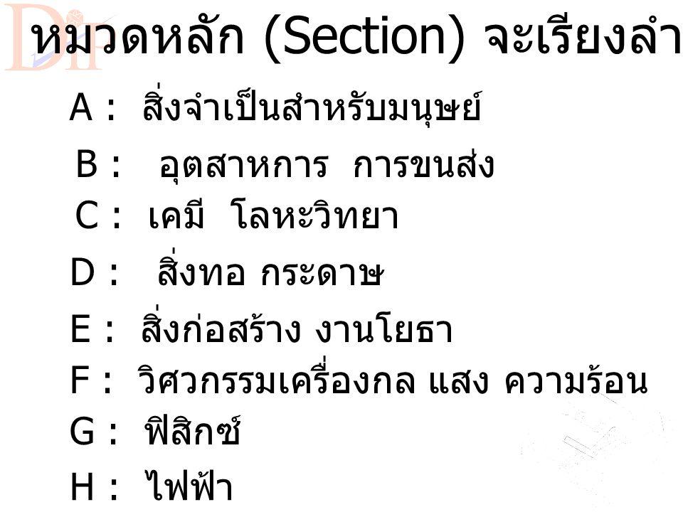 สัญลักษณ์ของ IPC เช่น F01F 1/01 F Section ( หมวดหลัก ) F01 Class ( ประเภท ) F01F Subclass ( ประเภทย่อย ) F01F 1/01 Group ( หมู่ ) 1/00 Main Group ( หม