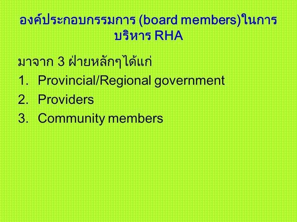 องค์ประกอบกรรมการ (board members)ในการ บริหาร RHA มาจาก 3 ฝ่ายหลักๆได้แก่ 1.Provincial/Regional government 2.Providers 3.Community members