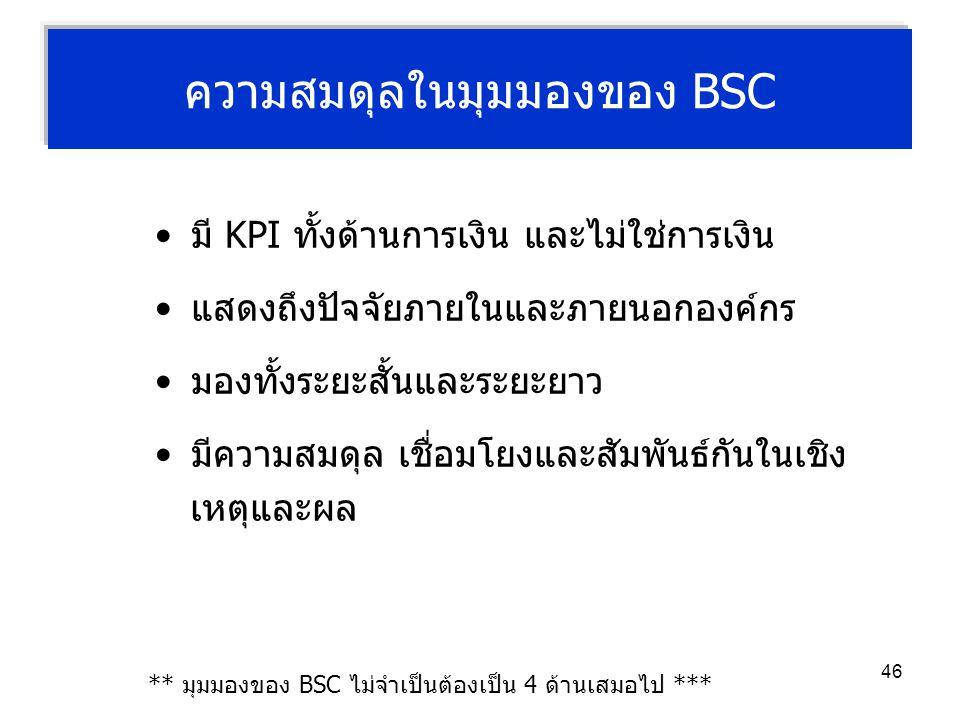 46 ความสมดุลในมุมมองของ BSC มี KPI ทั้งด้านการเงิน และไม่ใช่การเงิน แสดงถึงปัจจัยภายในและภายนอกองค์กร มองทั้งระยะสั้นและระยะยาว มีความสมดุล เชื่อมโยงแ
