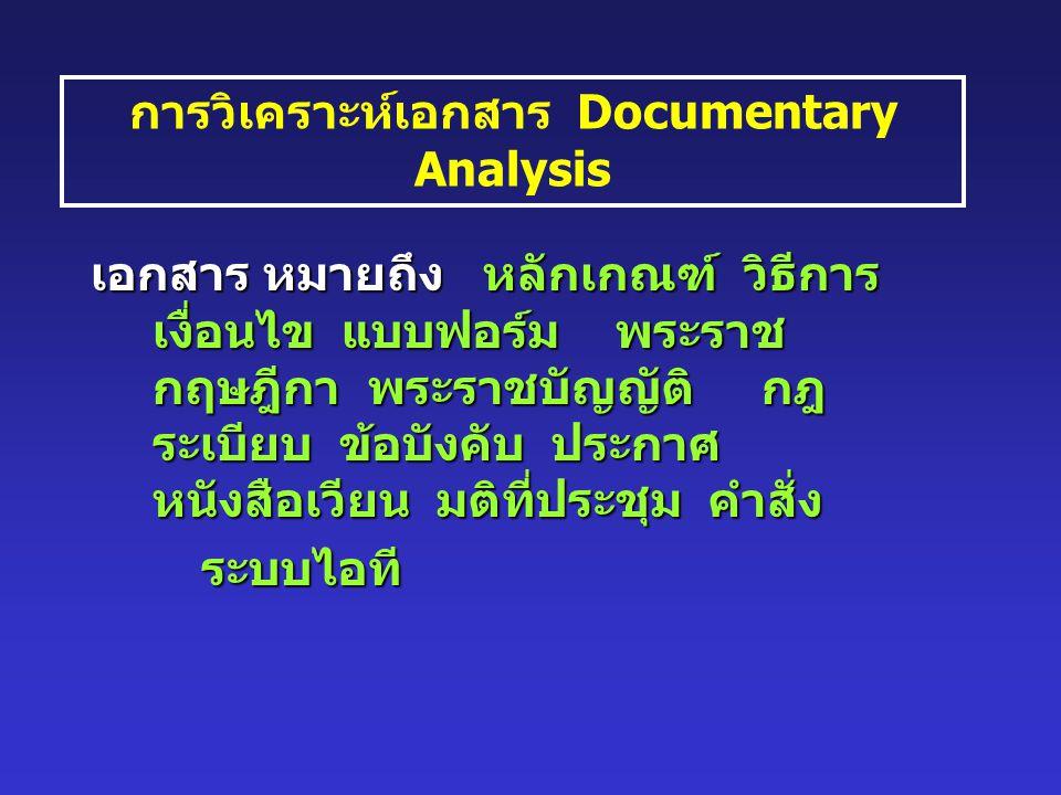 การวิเคราะห์เอกสาร Documentary Analysis เอกสาร หมายถึง หลักเกณฑ์ วิธีการ เงื่อนไข แบบฟอร์ม พระราช กฤษฎีกา พระราชบัญญัติ กฎ ระเบียบ ข้อบังคับ ประกาศ หนังสือเวียน มติที่ประชุม คำสั่ง ระบบไอที ระบบไอที