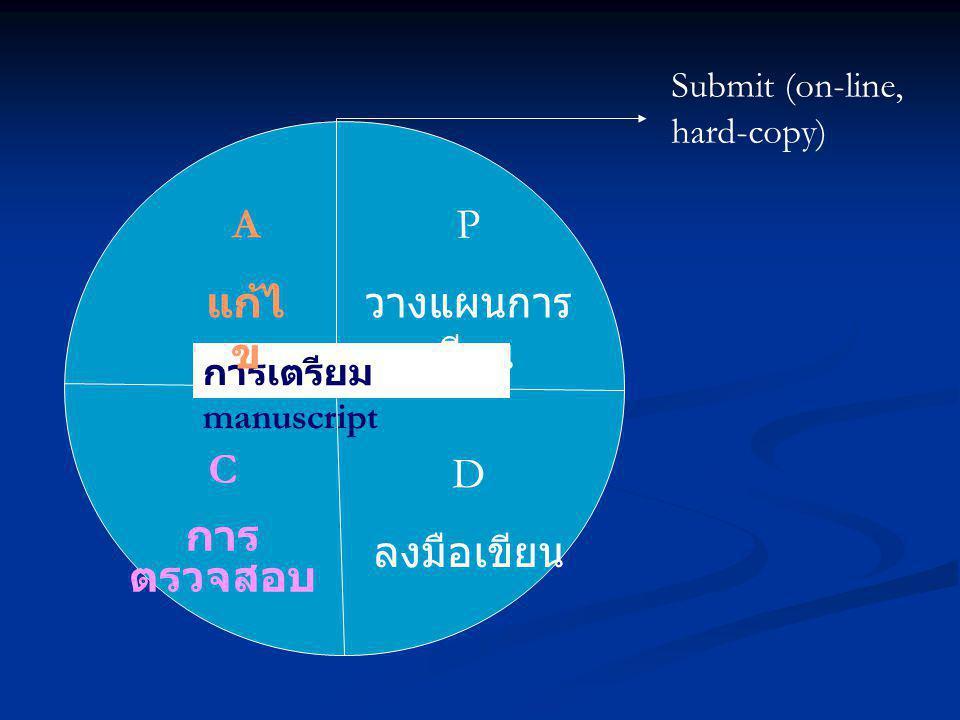 การเตรียม manuscript A แก้ไ ข P วางแผนการ เขียน C การ ตรวจสอบ D ลงมือเขียน Submit (on-line, hard-copy)