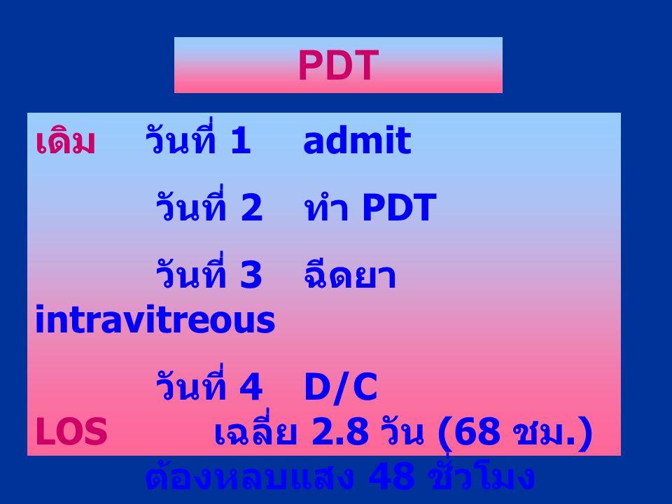 เดิม วันที่ 1admit วันที่ 2 ทำ PDT วันที่ 3 ฉีดยา intravitreous วันที่ 4D/C LOS เฉลี่ย 2.8 วัน (68 ชม.) ต้องหลบแสง 48 ชั่วโมง PDT