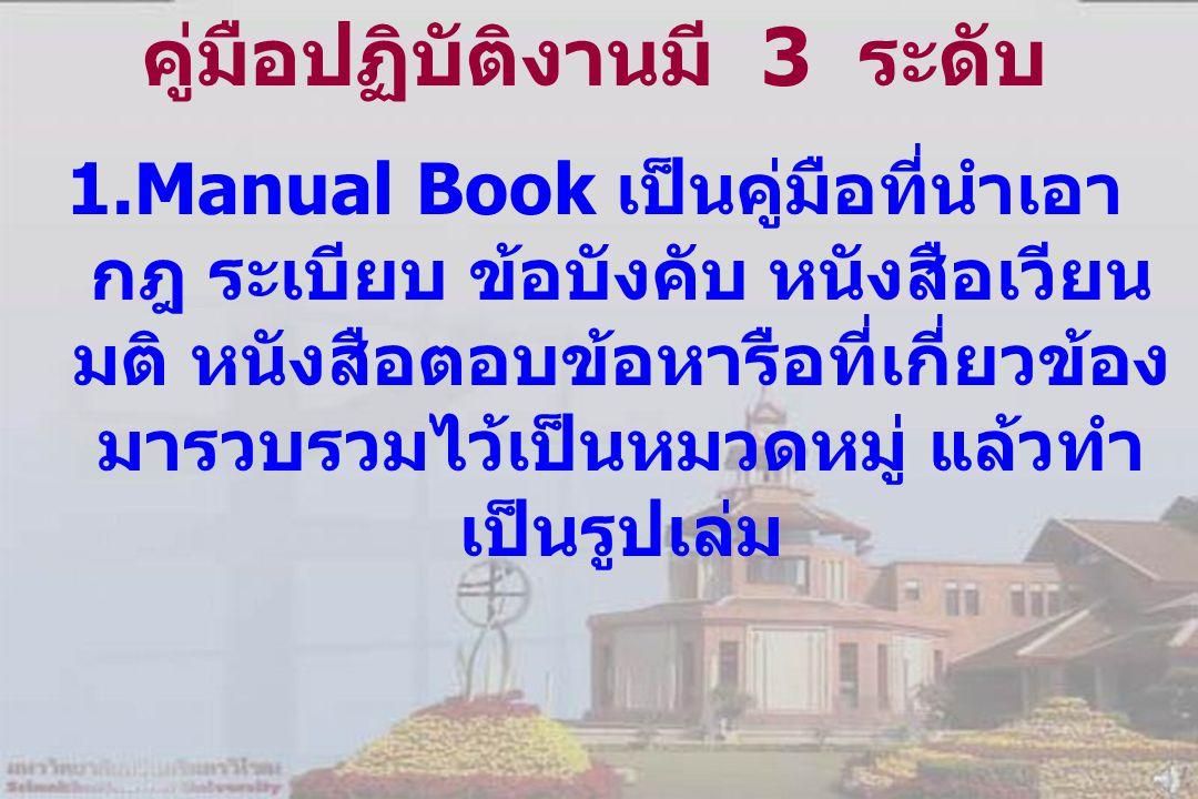 คู่มือปฏิบัติงานมี 3 ระดับ 1.Manual Book เป็นคู่มือที่นำเอา กฎ ระเบียบ ข้อบังคับ หนังสือเวียน มติ หนังสือตอบข้อหารือที่เกี่ยวข้อง มารวบรวมไว้เป็นหมวดหมู่ แล้วทำ เป็นรูปเล่ม