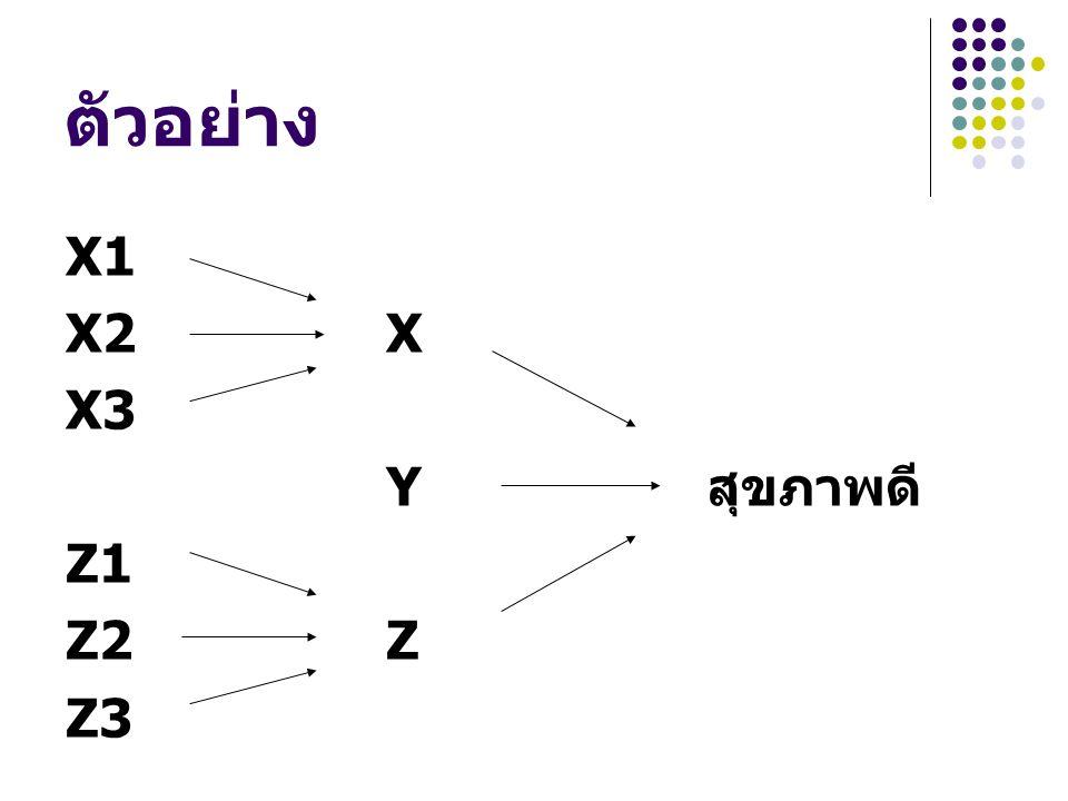 X1 X2X X3 Y สุขภาพดี Z1 Z2Z Z3
