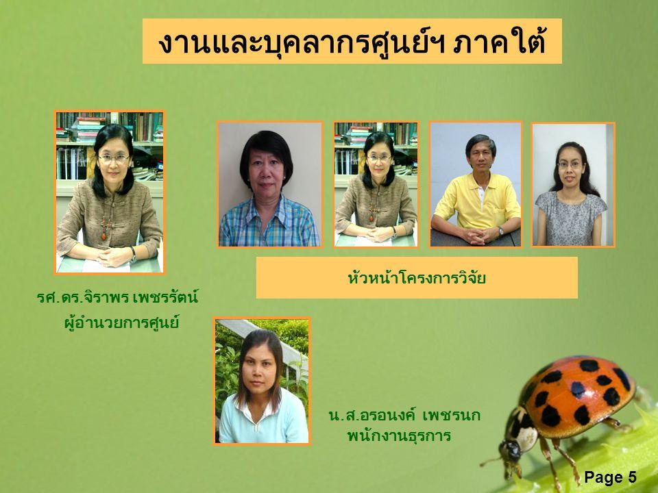 Page 5 งานและบุคลากรศูนย์ฯ ภาคใต้ รศ.ดร.จิราพร เพชรรัตน์ ผู้อำนวยการศูนย์ น.ส.อรอนงค์ เพชรนก พนักงานธุรการ หัวหน้าโครงการวิจัย