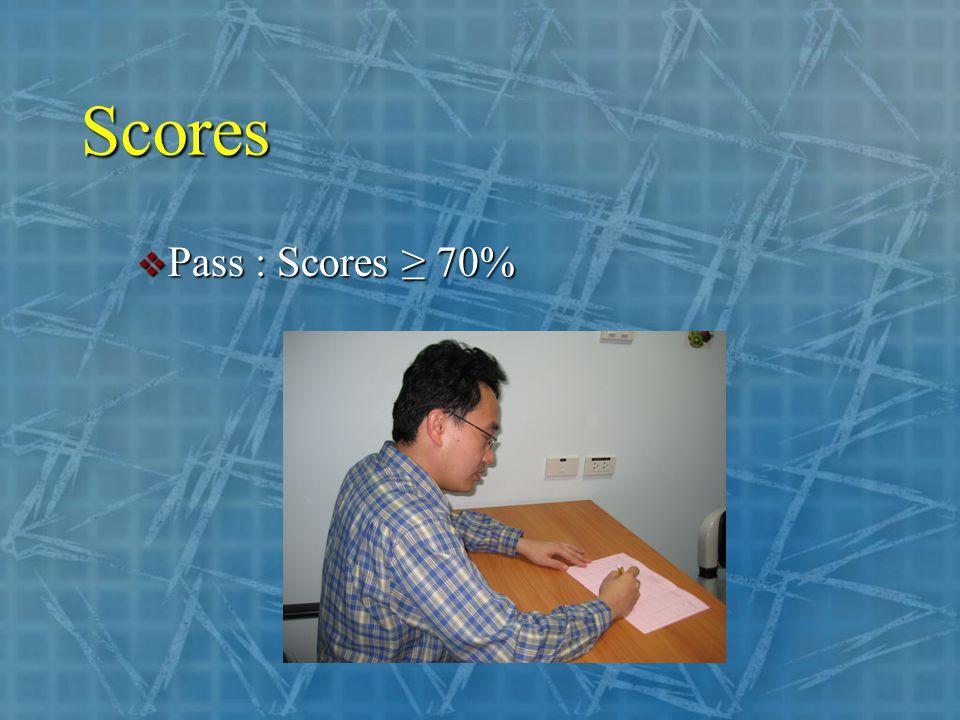 Scores  Pass : Scores ≥ 70%