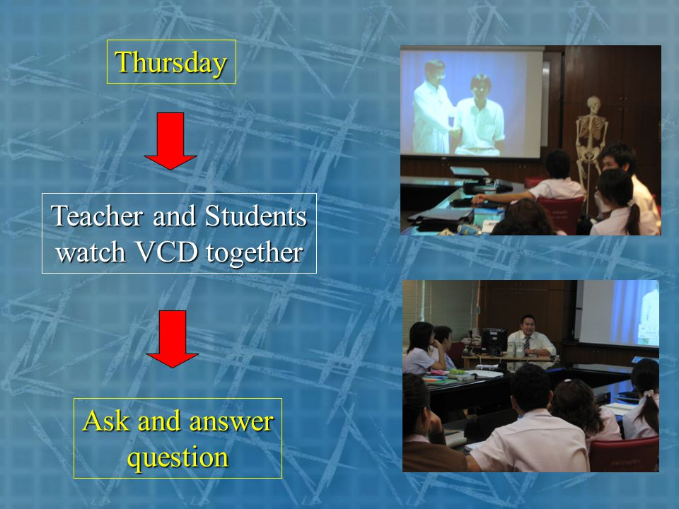Thursday Teacher and Students watch VCD together Ask and answer question