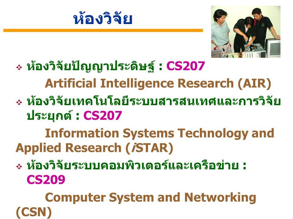  ห้องวิจัยปัญญาประดิษฐ์ : CS207 Artificial Intelligence Research (AIR)  ห้องวิจัยเทคโนโลยีระบบสารสนเทศและการวิจัย ประยุกต์ : CS207 Information Syste
