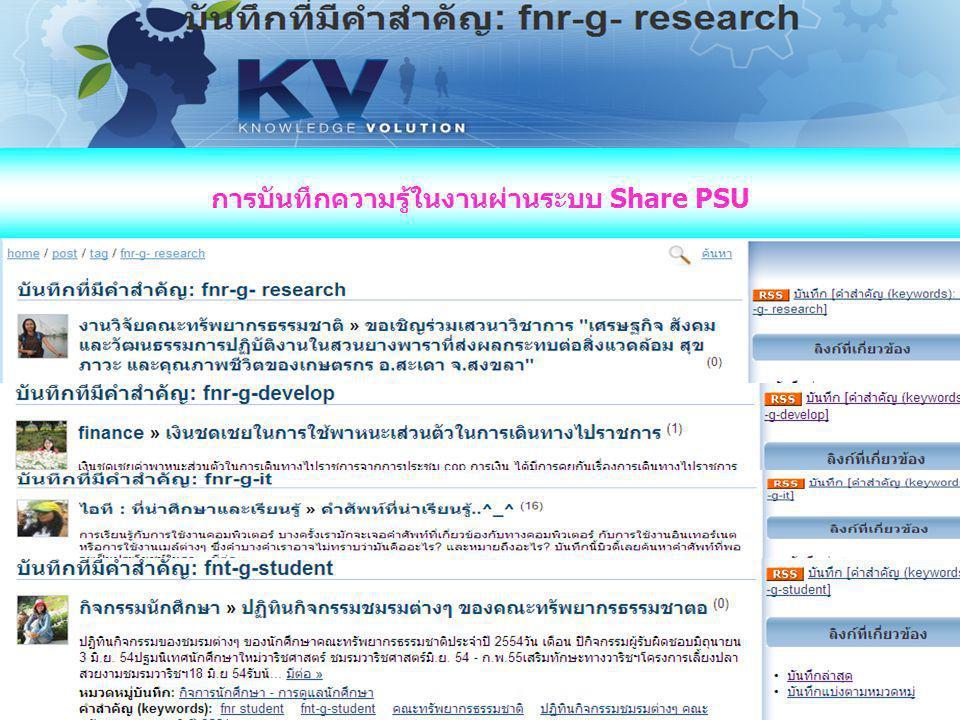 การบันทึกความรู้ในงานผ่านระบบ Share PSU