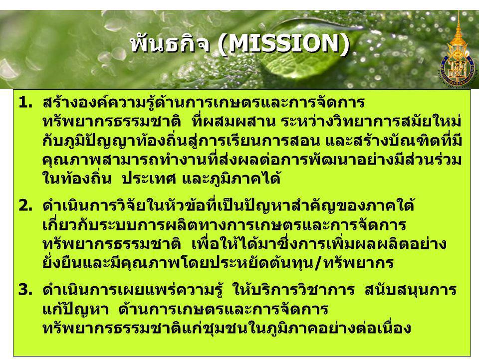 พันธกิจ (MISSION) 1. สร้างองค์ความรู้ด้านการเกษตรและการจัดการ ทรัพยากรธรรมชาติ ที่ผสมผสาน ระหว่างวิทยาการสมัยใหม่ กับภูมิปัญญาท้องถิ่นสู่การเรียนการสอ