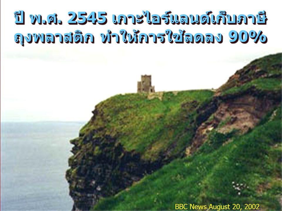 BBC News August 20, 2002 ปี พ.ศ. 2545 เกาะไอร์แลนด์เก็บภาษี ถุงพลาสติก ทำให้การใช้ลดลง 90%