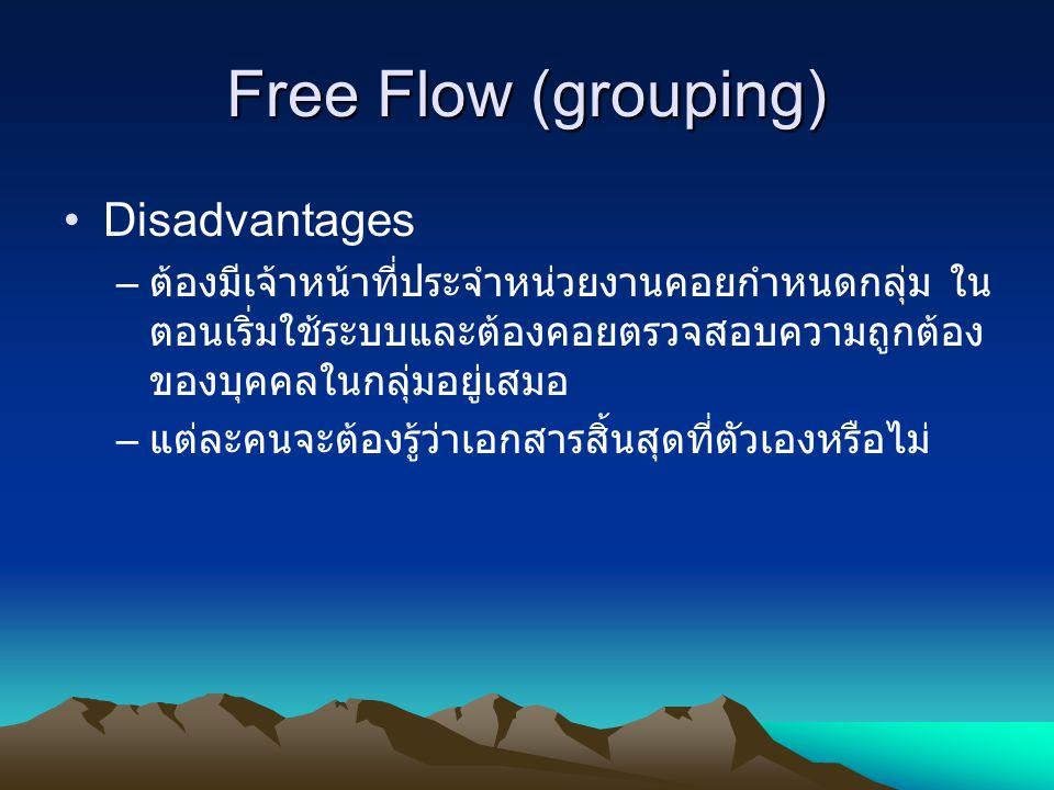 Free Flow (grouping) Disadvantages – ต้องมีเจ้าหน้าที่ประจำหน่วยงานคอยกำหนดกลุ่ม ใน ตอนเริ่มใช้ระบบและต้องคอยตรวจสอบความถูกต้อง ของบุคคลในกลุ่มอยู่เสม