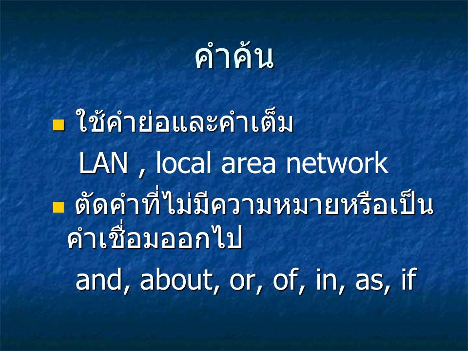 คำค้น ใช้คำย่อและคำเต็ม ใช้คำย่อและคำเต็ม LAN, LAN, local area network ตัดคำที่ไม่มีความหมายหรือเป็น คำเชื่อมออกไป ตัดคำที่ไม่มีความหมายหรือเป็น คำเชื