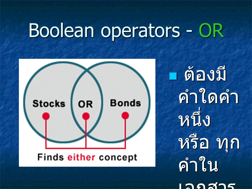Boolean operators - OR ต้องมี คำใดคำ หนึ่ง หรือ ทุก คำใน เอกสาร นั้น ต้องมี คำใดคำ หนึ่ง หรือ ทุก คำใน เอกสาร นั้น