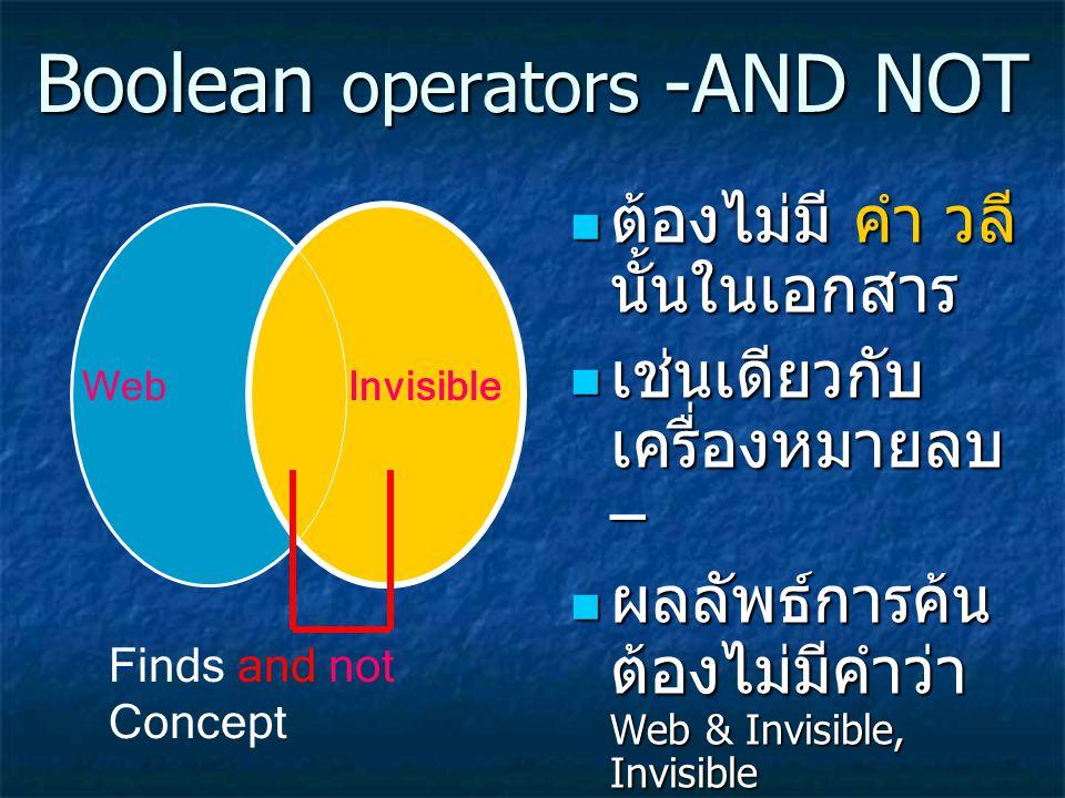 Boolean operators -AND NOT ต้องไม่มี คำ วลี นั้นในเอกสาร ต้องไม่มี คำ วลี นั้นในเอกสาร เช่นเดียวกับ เครื่องหมายลบ – เช่นเดียวกับ เครื่องหมายลบ – ผลลัพ