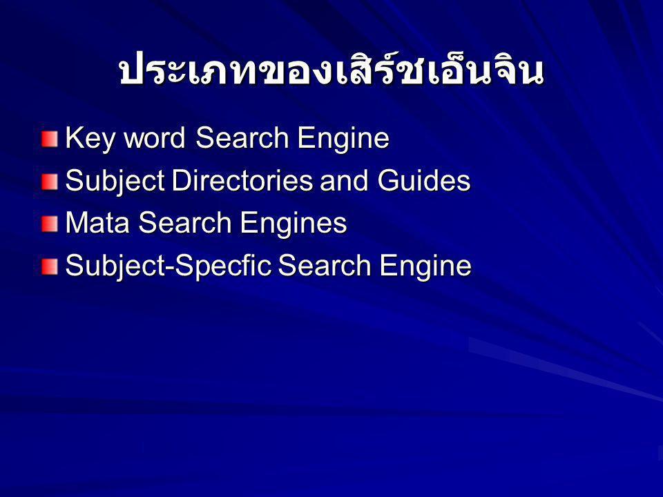 ประเภทของเสิร์ชเอ็นจิน Key word Search Engine Subject Directories and Guides Mata Search Engines Subject-Specfic Search Engine