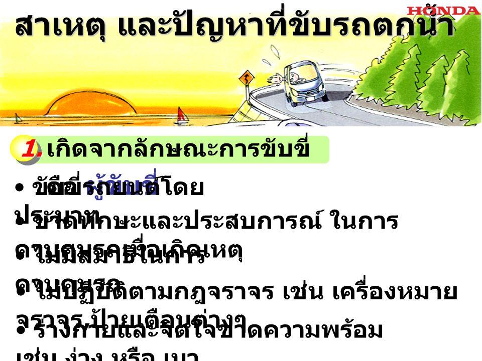 สาเหตุ และปัญหาที่ขับรถตกน้ำ สาเหตุ และปัญหาที่ขับรถตกน้ำ ขับรถชิดไหล่ทาง มากเกินไป ขับรถเร็วเกินกำหนด และไม่ เหมาะสม ไม่ขับรถตามเส้นแบ่งทาง หรือ ขับ ในเลนส์ที่กำหนด ขับแซงบนทางโค้ง และในที่คับขัน
